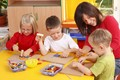 Preschool teacher and kids