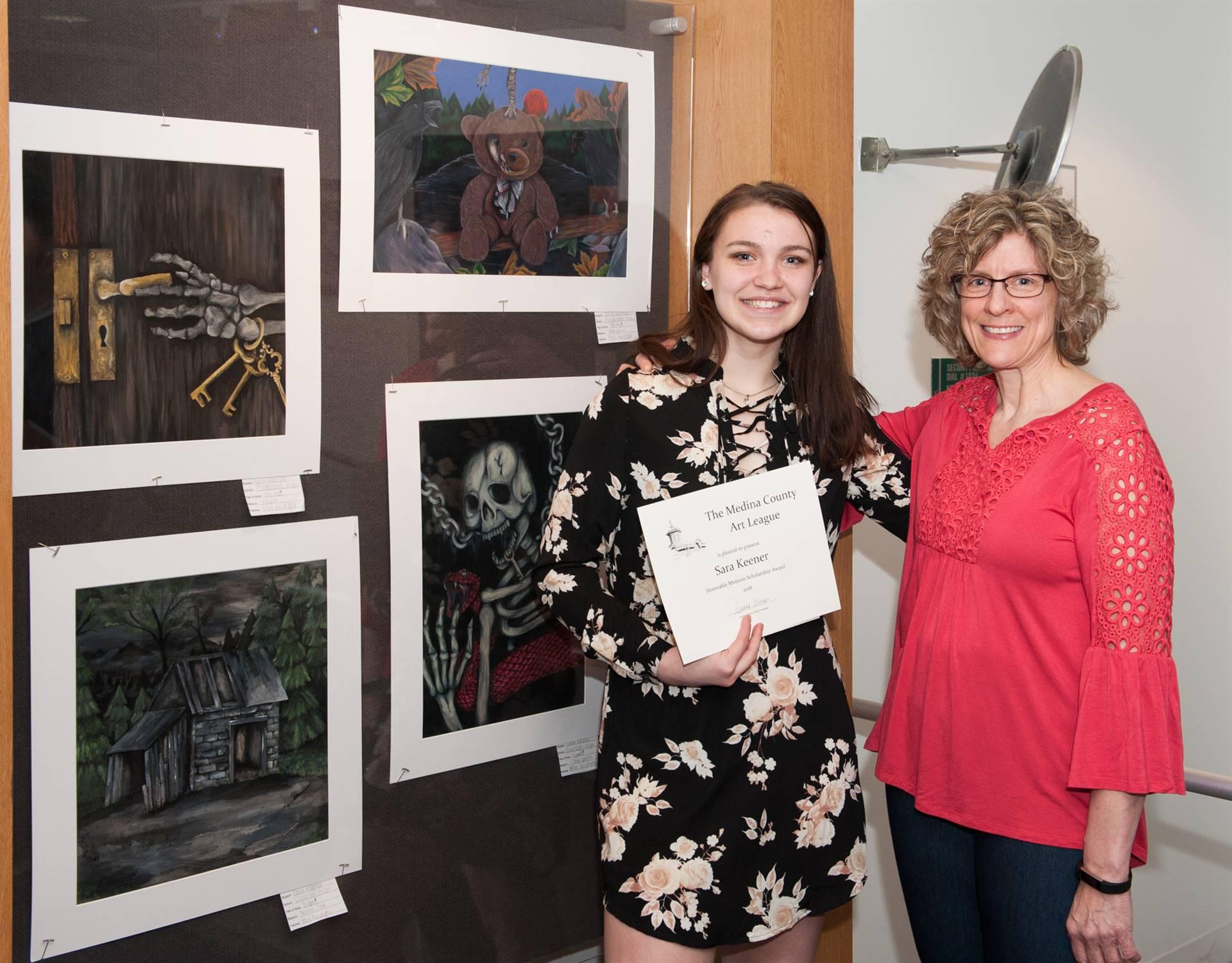 Sara Keener, Hon. Mention MCAL Scholarship Winner, and Julie Krueger, art teacher