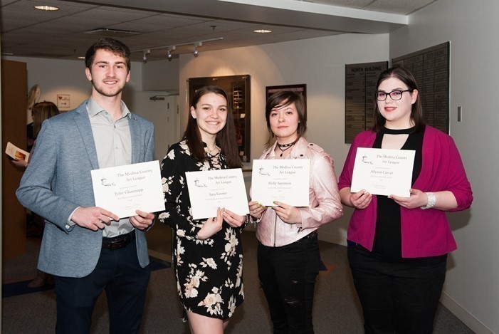 2018 Art League Scholarship Winners: Tyler Glasenapp, Sara Keener, Holly Sammon, and Allyson Carver (photo by William Beuther)