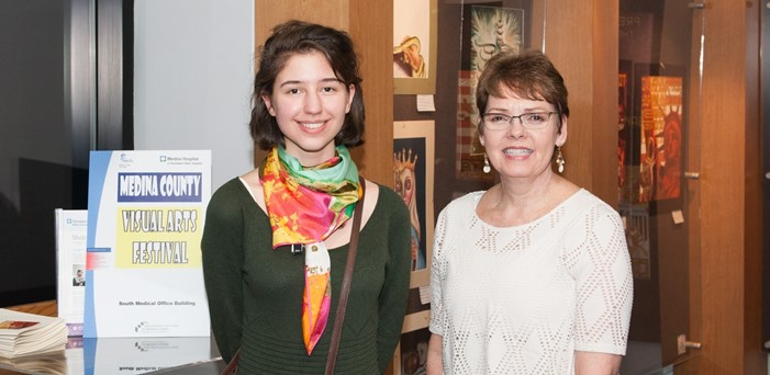 Dagny Sacksteder, First-Place ESC Individual Winner, and Pat Wise, art teacher (photo by William Beuther)