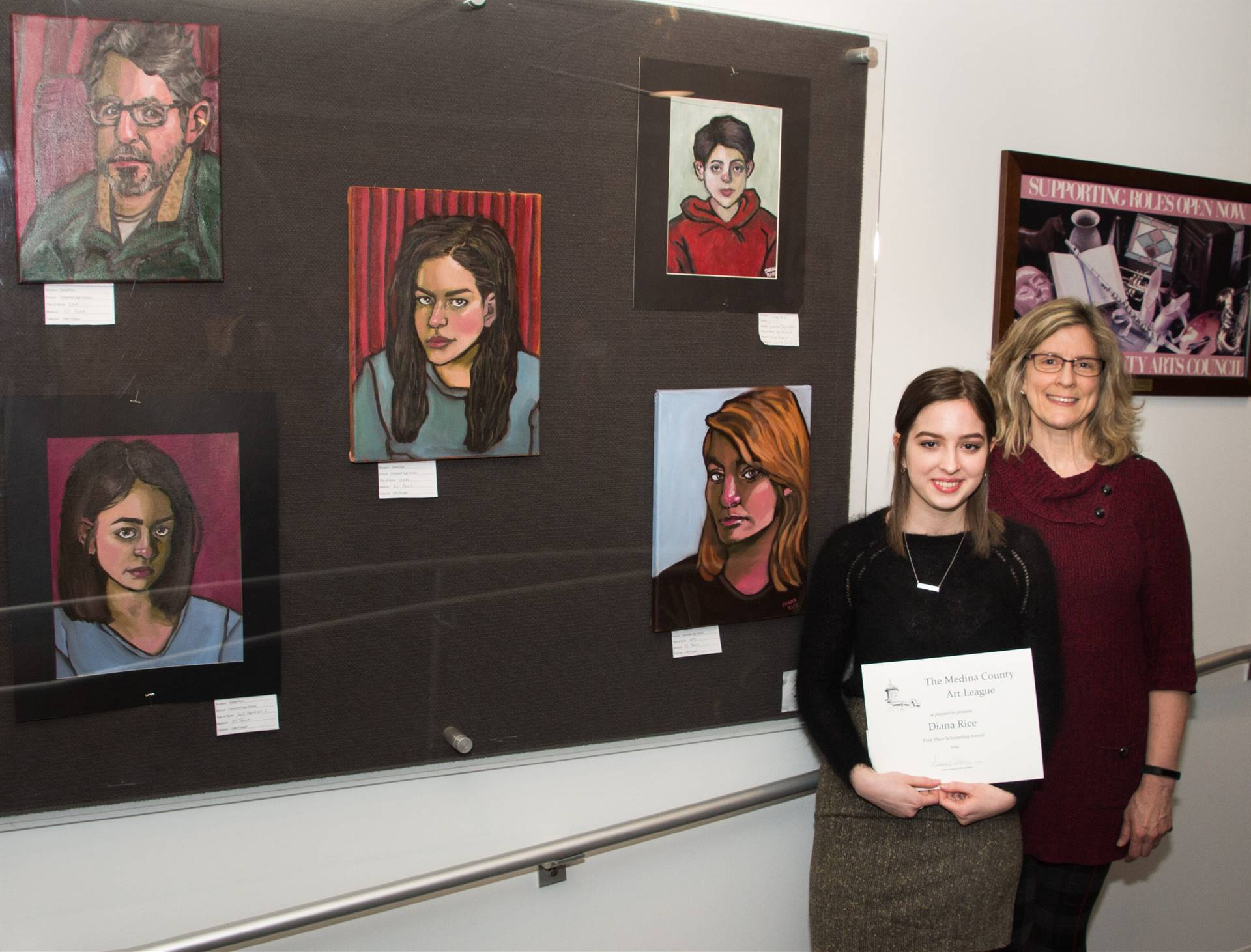 Diana Rice, First Place MCAL Scholarship Winner, with Julie Krueger, art teacher