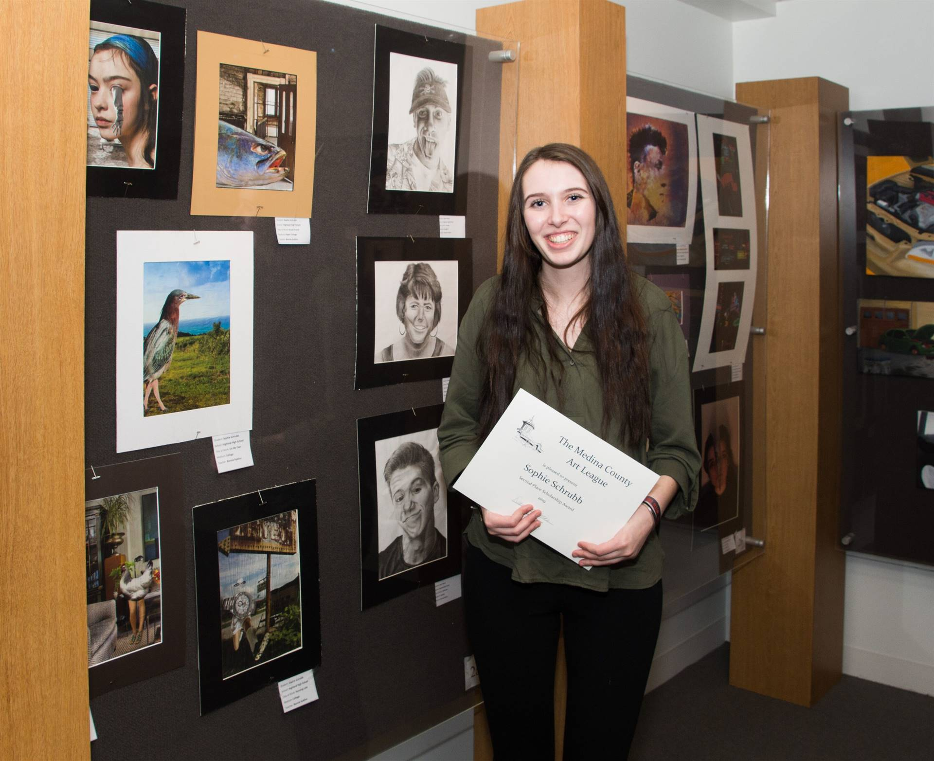 Sophie Schrubb, Second Place 2019 MCAL Scholarship Winner, with her artwork