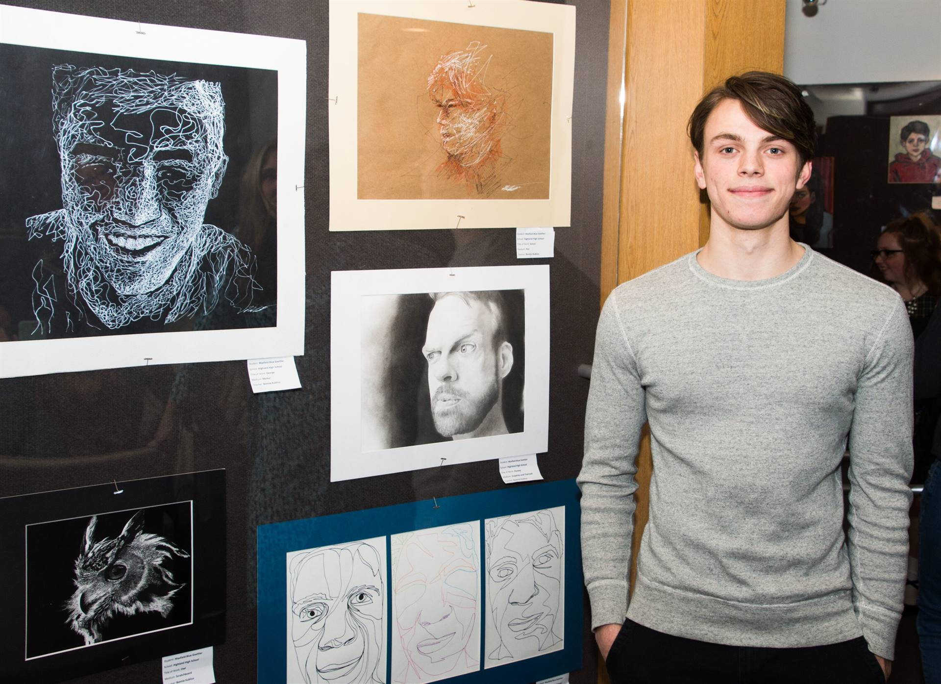 Maxfield Goettler, H.M. 2019 MCAL Scholarship Winner, with his artwork