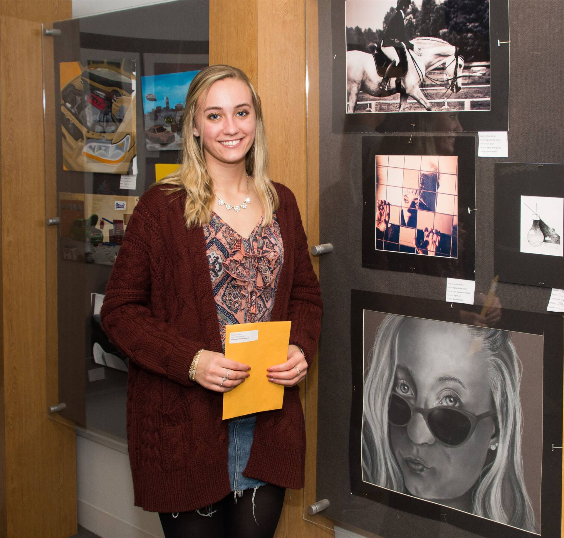 Kaeley Sandor, H.M. 2019 Individual Artwork Winner, with her artwork