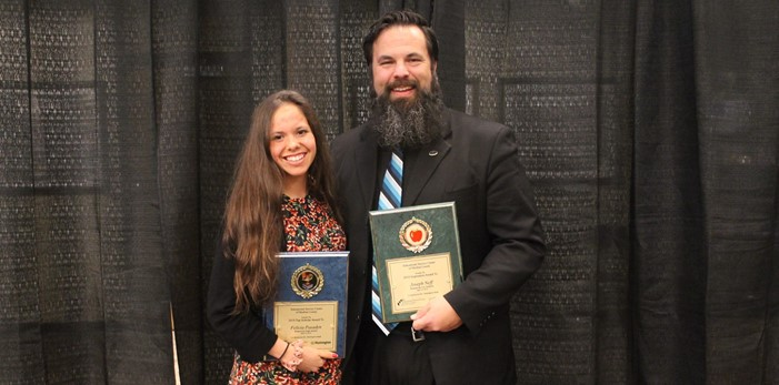 "Brunswick ""Top Scholar"" Felicia Pasadyn with ""Inspiration"" Mr. Joseph Neff"