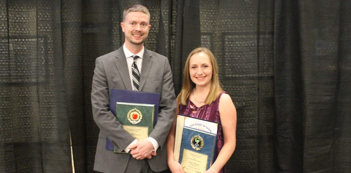 "Cloverleaf ""Top Scholar"" Grace Winrod with ""Inspiration"" Mr. Andrew Winter"