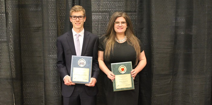 "Highland ""Top Scholar"" Christopher Sollenberger with ""Inspiration"" Mrs. Audrey Hinneberg"