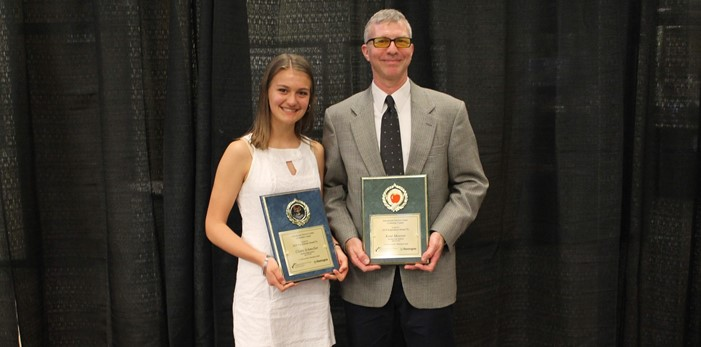 "Medina ""Top Scholar"" Claire Schmeller with ""Inspiration"" Mr. Kent Mowrer"