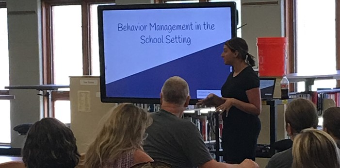 Brittany Dominak, Behavior Specialist, providing professional development to Wadsworth City Schools paraprofessionals
